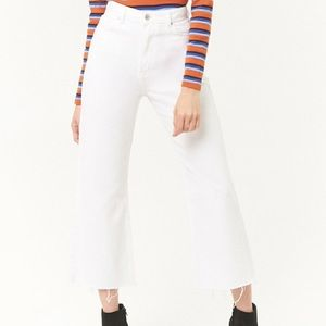Forever 21 Wide Leg Frayed White Jeans